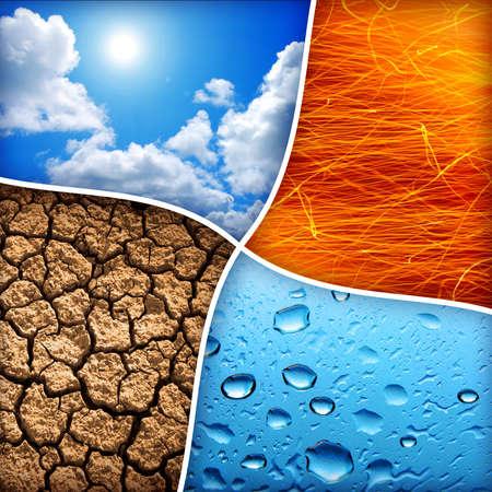 Composición de los cuatro elementos naturales de agua, fuego, tierra, aire