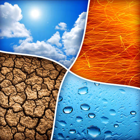 cuatro elementos: Composici�n de los cuatro elementos naturales de agua, fuego, tierra, aire