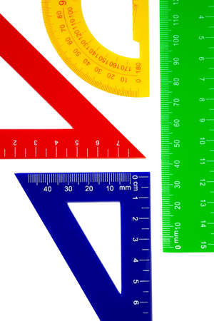 colorful set for school with ruler, triangle and protractor photo
