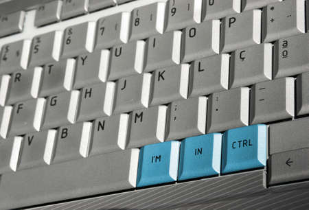 Laptop keyboard with three blue buttons saying Im In Ctrl photo