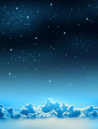 Beautiful starry sky background with some clouds Stock Photo