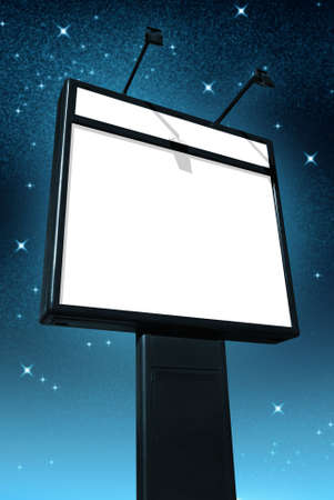 Photo of a big blank billboard against a starry sky at night photo