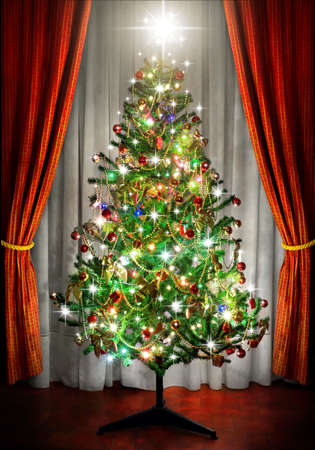 sparkling Christmas tree in a room next to window curtains photo