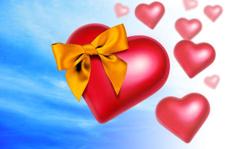 Big red heart with a shining golden bow randomly falling from the sky