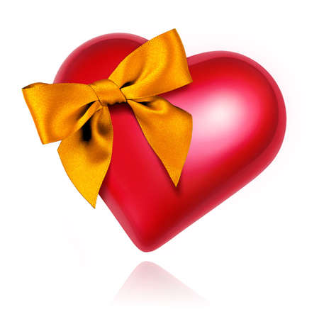 Big red heart with a shining golden bow isolated in white photo