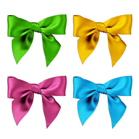 Colorful group of bows, isolated in white background photo