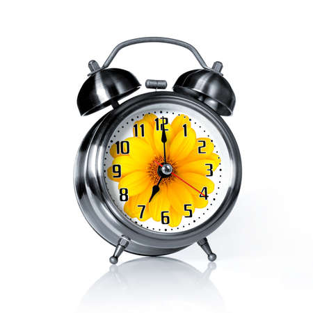 metal spring: Spring time old fashion alarm clock with a printed flower   Stock Photo