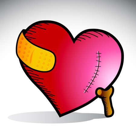 ersch�pft: Abbildung eines Herzens mit Narbe und gelbe Binde, unterst�tzt durch einen Stock