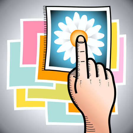 touch screen interface: illustration of a hand with finger poiting to a photo of a flower