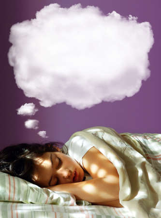 one sheet: Young girl sleeping in her bed, with a dreaming fluffy balloon above her head