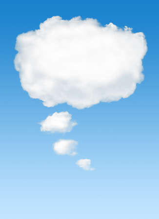 cloud sky: White cloud in the sky with the shape of a cartoon thinking balloon