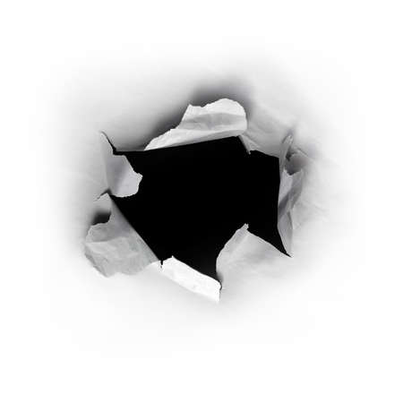 emergence: Ripped round hole in white paper with black background inside Stock Photo