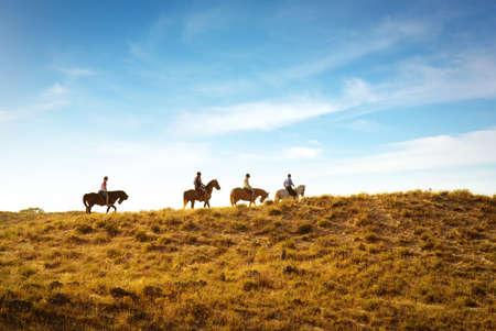 horseback riding: horseback riding in the dunes near a beach at sunset