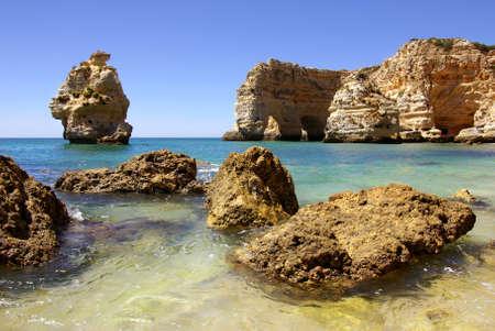 Natural beauty of rocky coastline in Algarve, Portugal Stock Photo - 7529737