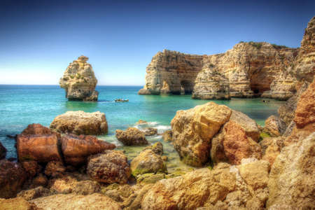 HDR image of rocky coastline in Algarve, Portugal Stock Photo - 7573777