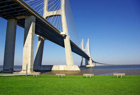 Detail of Vasco da Gama Bridge and surrouding park in Lisbon Portugal photo