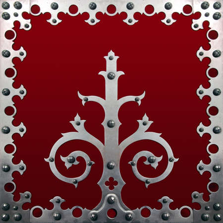 Old metallic decorations with screws over a red background photo
