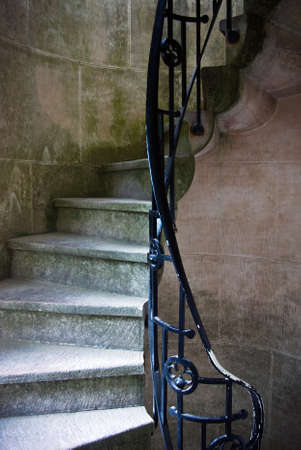 stone stairs: Detail of a curl-shape narrow stairway of a castle tower