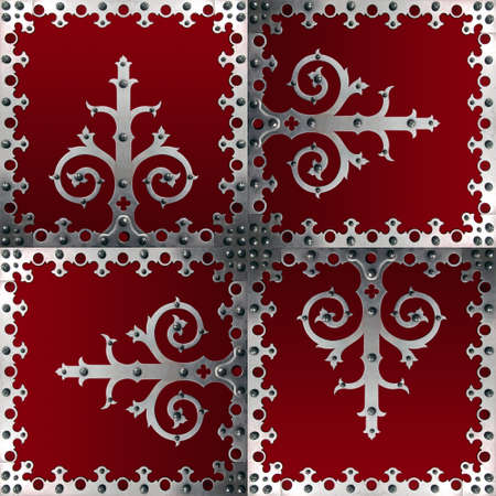 Old metallic decorations with srews over a red background Stock Photo - 7784894