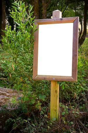 Blank wooden information board in the forests of a natural park photo