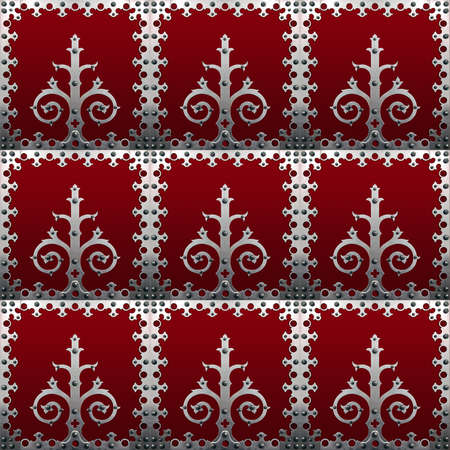 Old metallic decorations with screws over a red background Stock Photo - 7914971