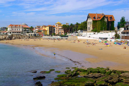 View of a beach in the touristic village of Cascais, Portugal