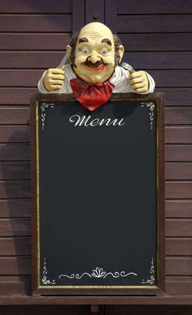 Vintage menu frame with hungry dummy isolated in black  Stock Photo
