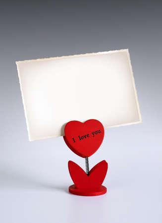 carta de amor: titular de la foto en forma de coraz�n diciendo I Love You foto de explotaci�n