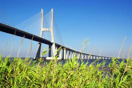Detail of Vasco da Gama Bridge and surrounding park in Lisbon Portugal  photo
