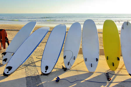 surfboard fin: Seven surfboards and a wet-suit resting in a beach at sunset