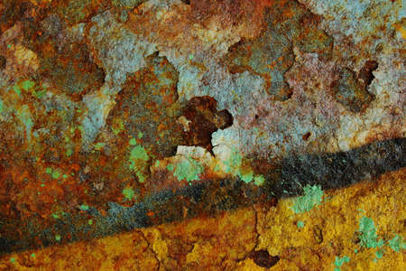 Colorful grunge background of rusty iron surface with paint stains Stock Photo - 9082845