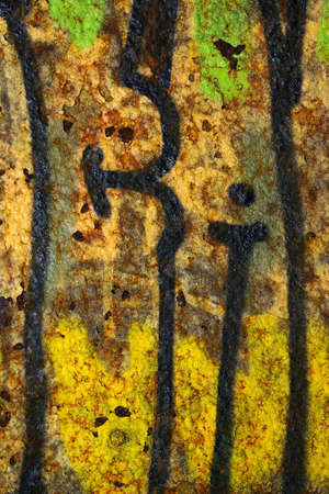 Colorful grunge background of rusty iron surface with paint stains Stock Photo - 9082846