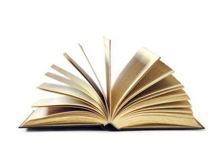 sachant lire et �crire: Open vieux livre isol� en fond blanc