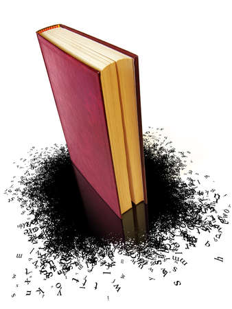 Conceptual image of a book with a leak of text forming a stain of letters photo