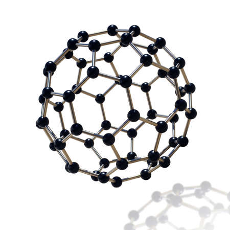atomic energy: floating black and chrome molecule over white background
