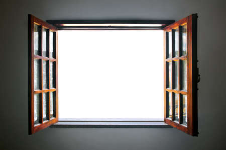Wide open rustic wooden window with empty white space in the middle Archivio Fotografico