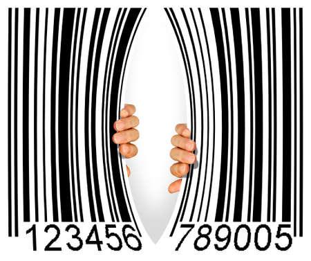 codigos de barra: C�digo de barras grande desgarrado en el medio de dos manos - concepto de consumismo Foto de archivo