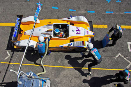 ESTORIL - SEPTEMBER 25: The FLM Oreca 09 of the Pegasus Racing Team, stops in the pit-lane for refueling in the LMS race 6 Hours Of Estoril on September 25, 2011, Estoril circuit, Portugal