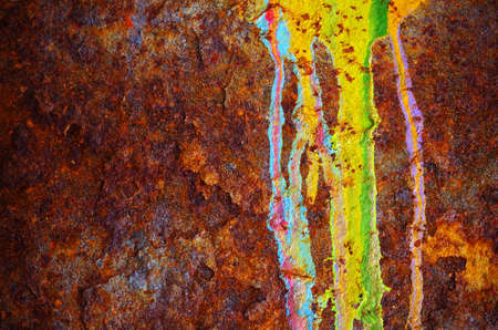 graffiti brown: Colorful grunge background of rusty iron surface with paint stains