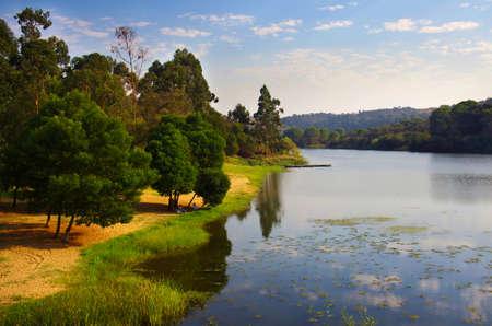 serene landscape: Landscape with a serene lake and trees in Alentejo, Portugal