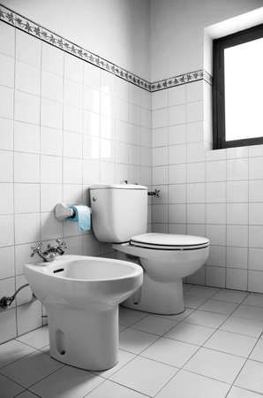 Black and white image of a restroom with toilet, bidet and blue toilet paper photo