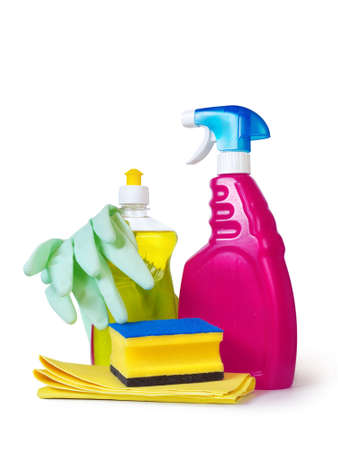 disinfect: dish washing detergent, sponge, gloves and cloth over white background