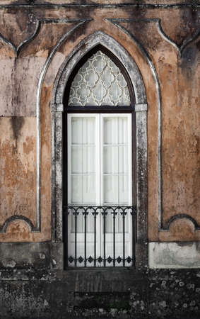 gothic window: Gothic window of an old romantic palace in Sintra, Portugal Stock Photo
