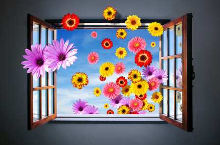 Conceptual Spring image with many colorful flowers entering through an open window photo