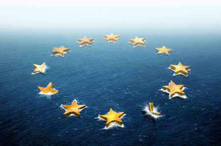 drifting: Conceptual image representing the stars of the European Union flag drifting and sinking in the ocean Stock Photo