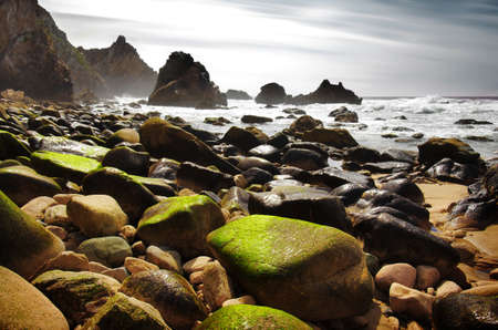 Rocky seascape of Ursa Beach in Portugal photo
