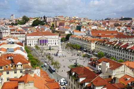 roof light: birdseye view of Rossio, main square of Lisbon, Portugal Editorial