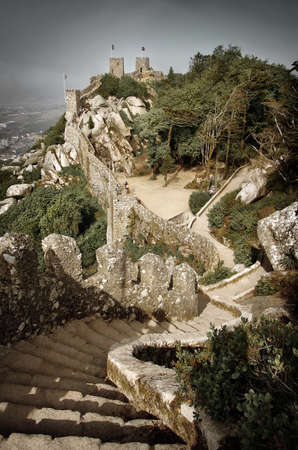 stone steps: Castelo dos Mouros - Mourish Castle - Sintra, Portugal Editorial