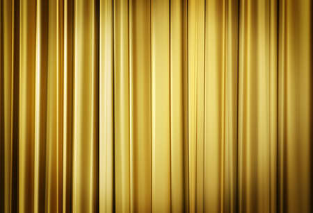 live performance: Theater stage yellow curtains ready to open for a live performance  Stock Photo