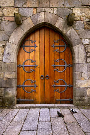 Beautiful old wooden door with iron ornaments in a medieval castle Stock Photo